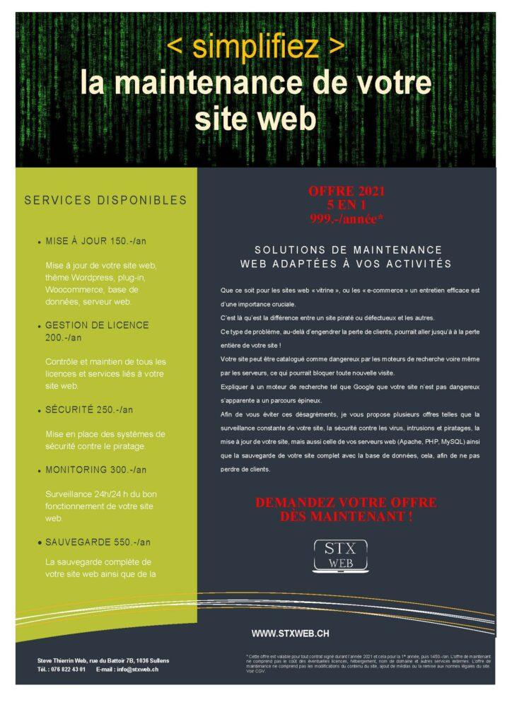 Maintenance site web